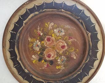 Gorgeous vintage handpainted round wooden tray/platter, floral design