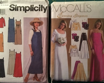 Sizes 16-18-20-22 Lot of 2 Sewing Patterns