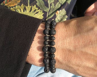 Lava wrap bracelet, Black lava bracelet, Woven beads bracelet, Bracelet stone bead, Lava beaded bracelet, Gift for her and him, Lava jewelry