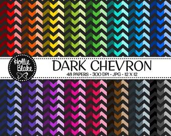 50% off SALE!! 48 Dark Chevron Digital Paper • Rainbow Digital Paper • Commercial Use • Instant Download • #CHEVRON-106-D
