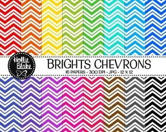 Buy 1 Get 1 Free!! 16 Bright Chevron Digital Paper • Rainbow Digital Paper • Commercial Use • Instant Download • #CHEVRON-133-2-B