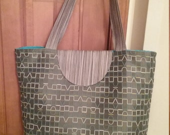 Tote Bag, Handbag, Beach Bag, School Bag, Diaper Bag, Purse, Gray/ Teal Handbag