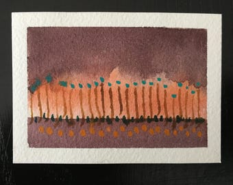 "Some Kind of Order 1 - mini Original Watercolor Painting by Anne Pouch ACEO ATC 2.5"" x 3.5"""