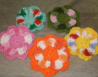 Crochet Flower Hair Barrettes