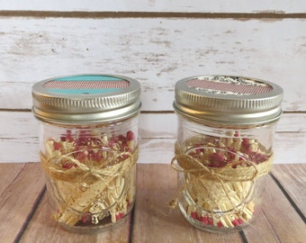 Mason Jar Match Holder (set of two) - Bathroom Matches - Kitchen Matches - Patterned Jar