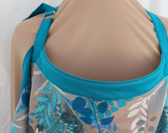 nursing breastfeeding cover apron in grey/turquoise print with turquoise trim all colourfast.  Proceeds to charity VACD Ltd