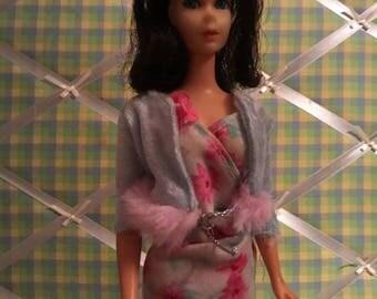 Barbie Doll Size Baby Blue & Pink Velour Jacket