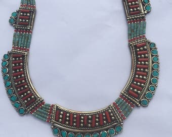 Beautiful Tibetan Silver Carol & Turquoise Necklace