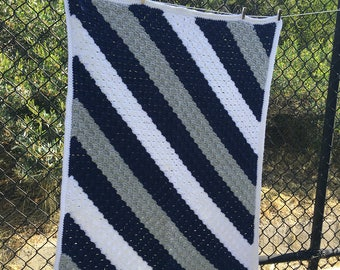 Navy Striped C2C Afghan