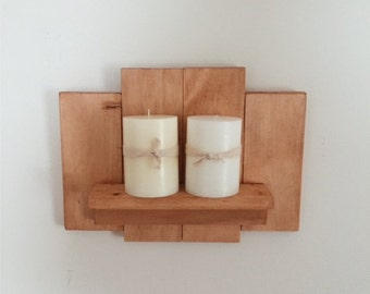 Wooden Candle Holder, Reclaimed Wood Wall Art, Wood Wall Art, Wood Wall Shelf, Wood Wall Decor, Rustic Decor