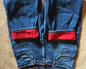 Eddie Bauer vintage fleece lined flannel insilated blue jeans size 38 x 30 nice warm comfy jeans