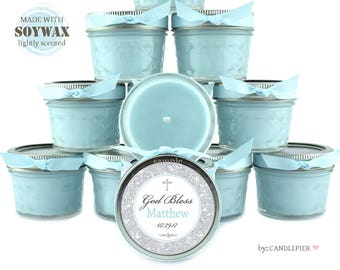 30 ct blue and silver baptism favors, 4 oz personalized soy candles, baby boy christening favors, customized favor candles