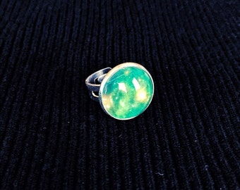 Galaxy ring, Adjustable ring, glass dome ring, Galaxy jewelry