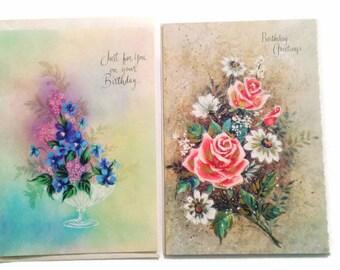 Vintage Unused Birthday Cards, Set of  Cards, Birthday Cards, Vintage Greeting Cards, Pastel Cards, 1960s Birthday Cards
