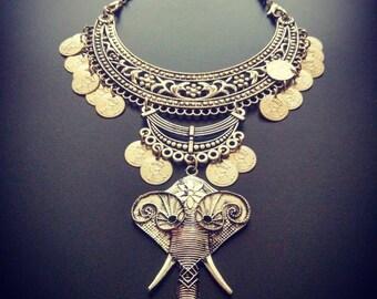 German Silver Elephant Necklace
