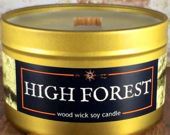 Enchanted HIGH FOREST Candle | Book-Fantasy-RPG-Geek Gift | Gold Tin, Wood Wick, Soy Wax, Artisan | Epic Adventure Candle Co.