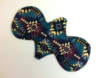 "Reusable cloth pad - Curvy - CSP – Length/Absorbency/ hidden PUL choice 6"" 7"" 8"" 9"" 10"" 11"" 12"" 13"" 14"" - Mayan Liner Moderate Heavy Night"