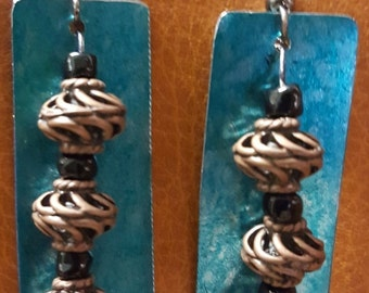 Metal and Copper Dangle Earrings