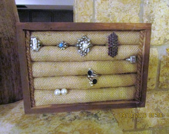 FREE SHIPPING!Rustic handmade Wood burlap rings holder.Jewelry Organizer,rings Display,cuff link,earrings.stud holder,choose color.