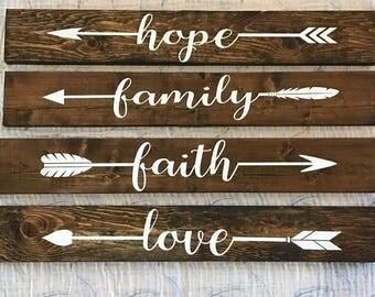 Handmade wood Arrow signs. 4 signs ~Love~Faith~Family~Hope Wall Decor