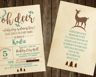 Oh Deer Baby Shower Invitation, Rustic Antler Baby Shower, Deer Printable Invitation