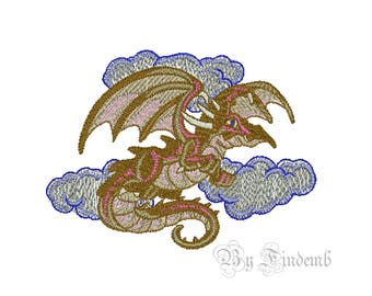 Dragon Embroidery Designs 3 size Instant Download