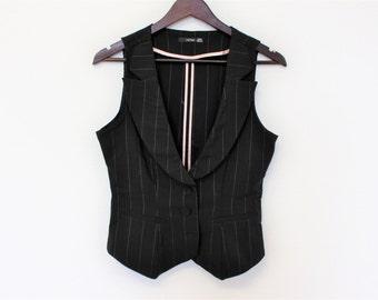 Striped Vest Black white Strip Waistcoat Office Vest Womens Vintage  Romantic Victorian Waistcoat Size Small