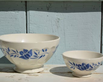 50's / 2 antique french bowls facet, a maxi and mini, ceramic white and blue floral pattern / mother's day