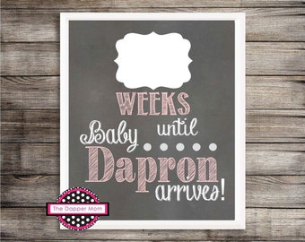 Pink & White Baby Photo Prop/Baby's First Year Monthly Update/Printal/Digital File/Baby Girl/Think Pink