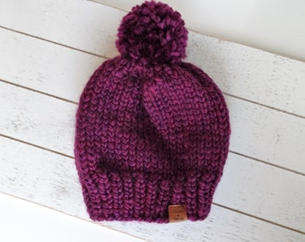 Knit Pom Toque, Clematis, Purple, Ready to Ship Size Toddler