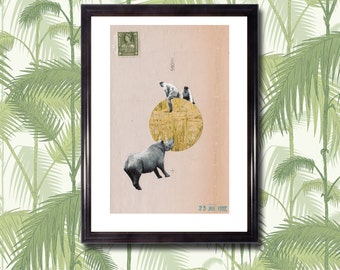 """CIRCLE WITH RHINO - 11"""" x 14"""" Art Print, Collage, Minimalist, Africa, Vintage, Colonial, Shapes, Safari, Cut Paper"""