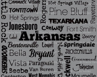 Arkansas Cities fabric - Fat Quarter - red and black - grey and black