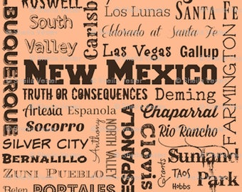 New Mexico fabric - NM cities typography fat quarter - New Mex. FQ - clay, gray, or light yellow