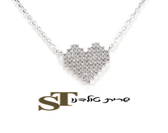 Sterling Silver Necklace heart zircon stones embedded rated