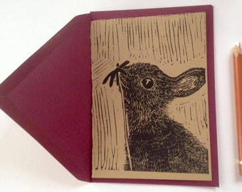 Lino printed card, bunny and flower