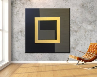 Acrylic Painting, Original Geometric Painting, Extra Large Wall Art, Abstract Painting, 39''x39'' canvas, Metallic paint, Black Olive Gold
