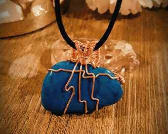 Wire Wrapped Blue Howlite Necklace.