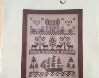 Cross Stitch Sampler Ship Coverlet Country Stitching