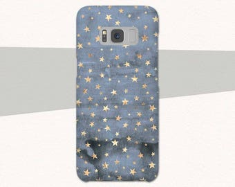 Blue Gold Stars Galaxy S8 Case, Blue Samsung Galaxy S7 S6 S5 Galaxy A3 Case, A5 Case, Pretty Galaxy S8 Phone Case Samsung Galaxy S8 Plus