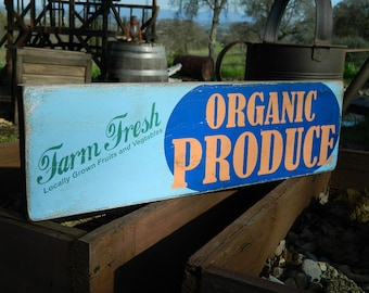 "Distressed Primitive Country Wood Sign - Farm Fresh Organic Produce 5.5"" x 19"""
