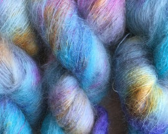 Hand Dyed Yarn | Lace Weight | Ultrafine Kid Mohair and Mulberry Silk Lace Yarn - Stained Glass