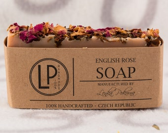English Rose soap, gift for girlfriend, Valentine's Day gift, Natural Soap, Homemade Soap, gift for her, gift for women, gift for mom