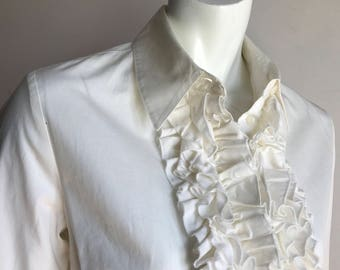 Como 10 White Ruffle Jabot Clown Blouse Shirt 90's