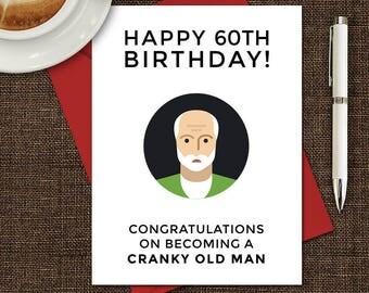 Printable Birthday Card, Birthday Card, 60th Birthday, Hilarious Birthday Card, Insulting Birthday Card, Funny Birthday Card