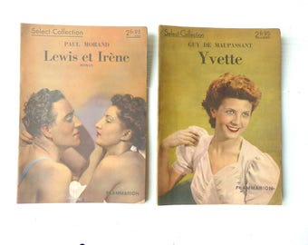Old books Select Flammarion Maupassant Morand Yvette Lewis and irene Vintage french book romance ancient books 1938 Paris France reading