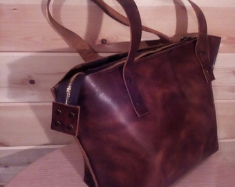 Shopping Bag. Brown Leather Bag.Leather Tote.