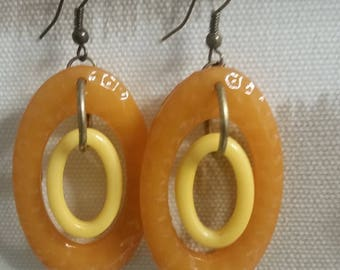 Orange and Yellow 60's Retro Style Earrings