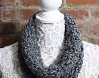 Cowl Neck Scarf - Grey with Specs