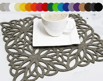 Felt placemat, modern placemat, stylish placemat, table placemat, square, 19 colors - Maroko