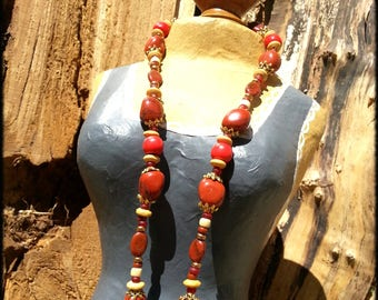 Necklace red coral Bloodstone and retro chic style - ANSTAS wood